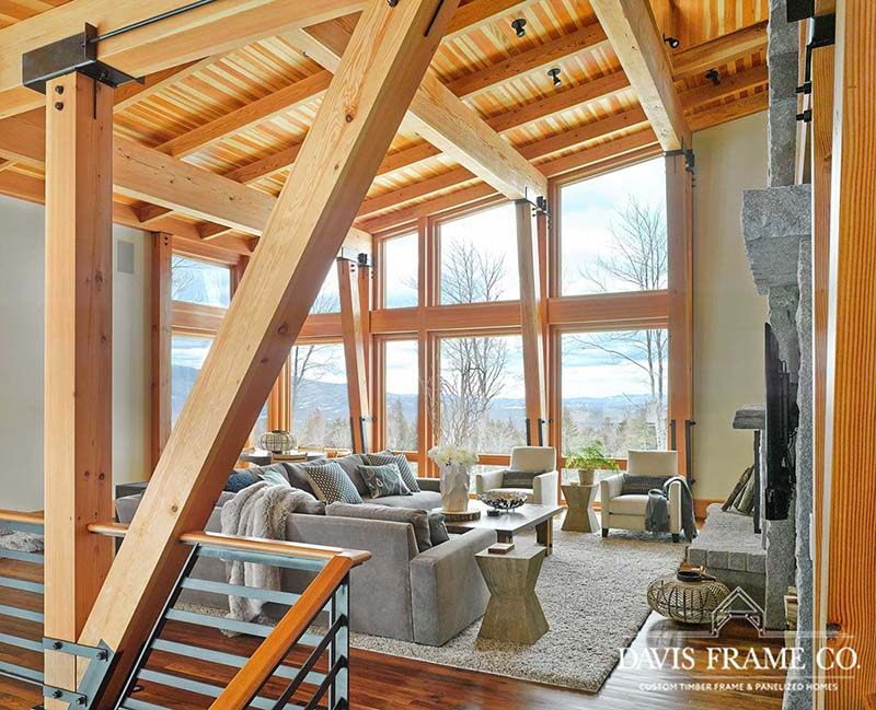 Stowe Vermont modern timber frame ski house great room