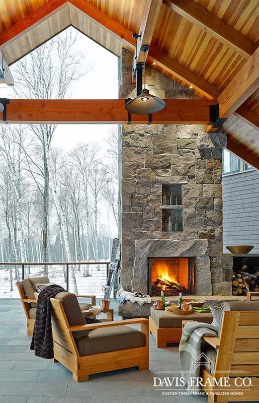 Stowe Vermont modern timber frame ski house porch
