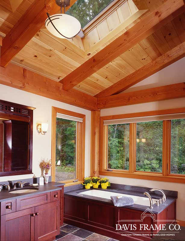 Cathedral timber frame bathroom