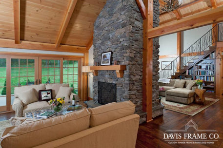 Timber frame living room and great room