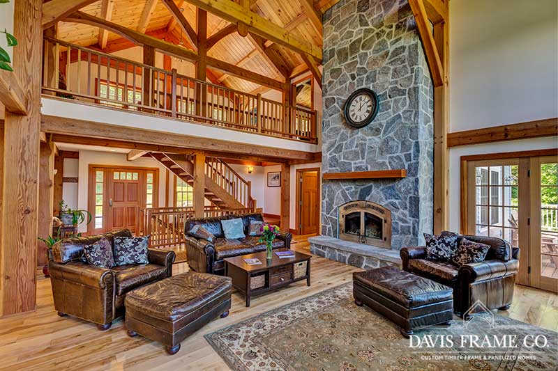 Vermont timber frame great room