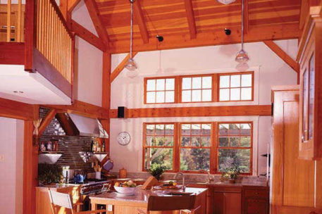 Cathedral ceiling timber frame kitchen