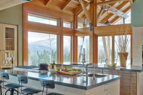 Mountain modern timber frame kitchen