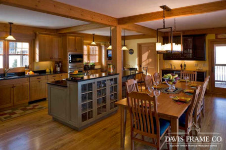 Open concept timber frame kitchen and dining room