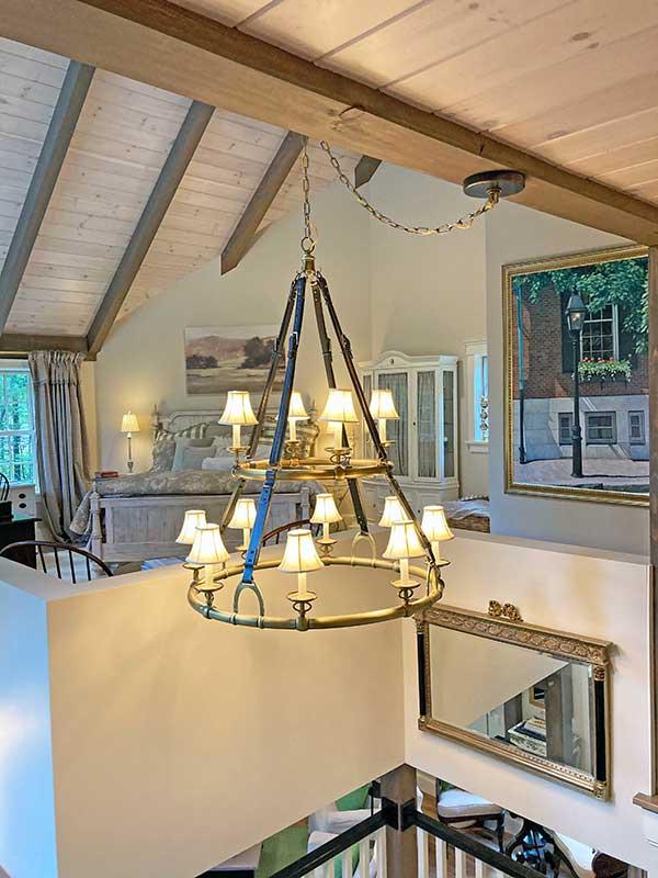 loft timber frame master bedroom
