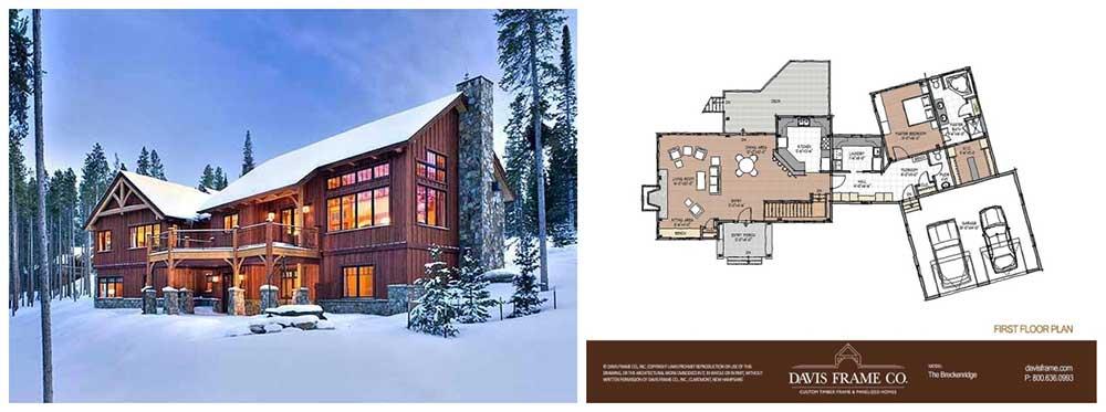 One Level Mountainside Timber Frame Floor Plan
