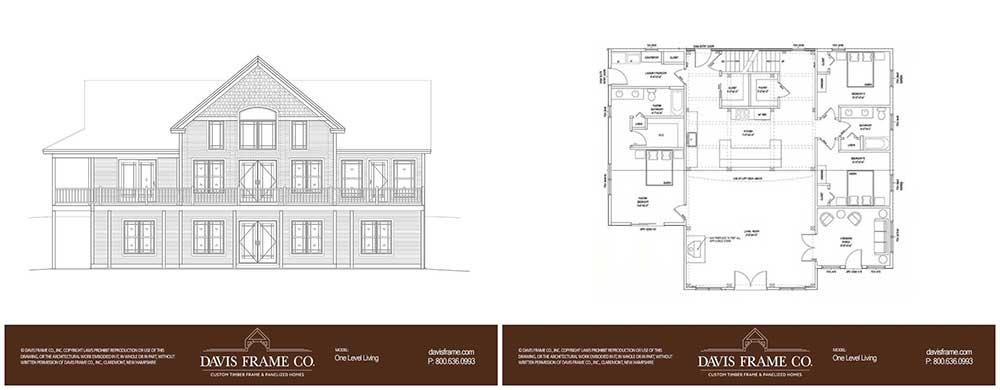one level hybrid timber frame home floor plan