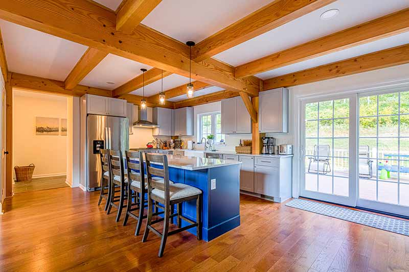 Timber frame home in new jersey with gray cabinets