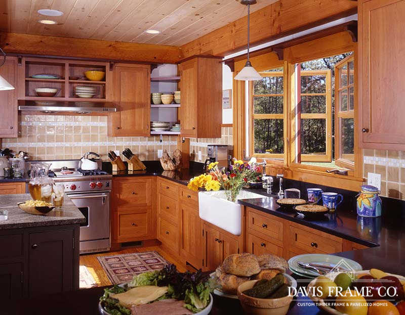 natural wood cabinets farmhouse style