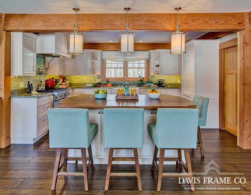 white mountains timber frame home with elegant kitchen