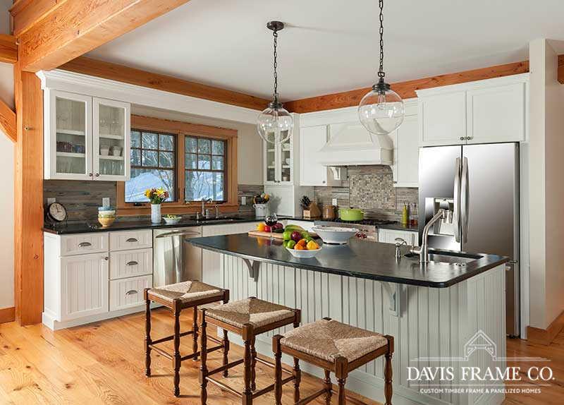 timber frame kitchen in vermont